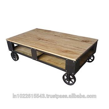 Rolling Industrial Furniture Cart Coffee Table Rustic Industrial Wheeled Coffee Table