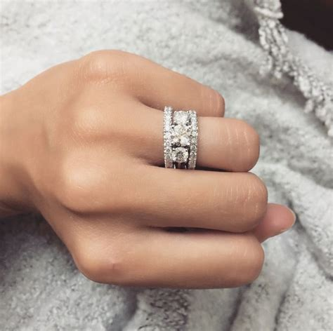 Wedding Ring Kl by Stacked Wedding Bands With Engagement Ring Pictures To Pin
