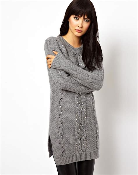Gaston Tribal Sweater lyst asos needle thread twist cable sweater dress in gray