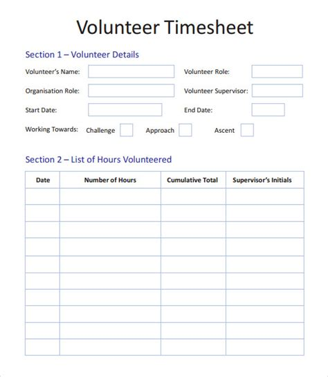 volunteer timesheet template 9 download free doccuments