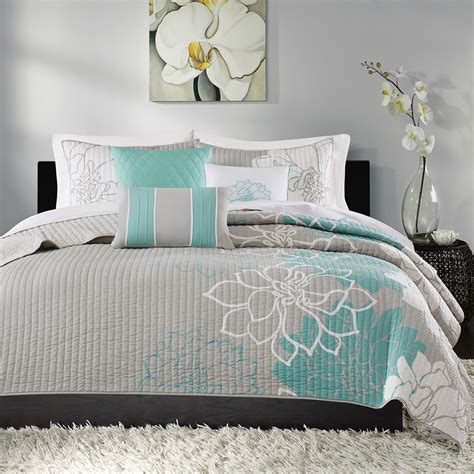 aqua quilts coverlets madison park lola 6 piece quilted coverlet set ebay