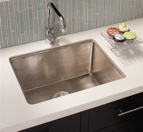 cocina 24 copper kitchen sink in brushed nickel by