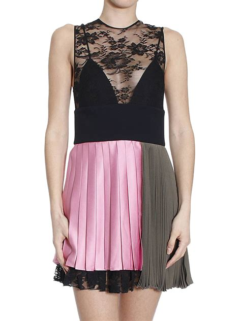 Lace Panel Pleated Dress lace panel pleated two tone dress by fausto puglisi