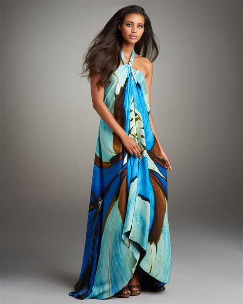 hair for maxi halyer dress roberto cavalli printed halter maxi dress in multicolor