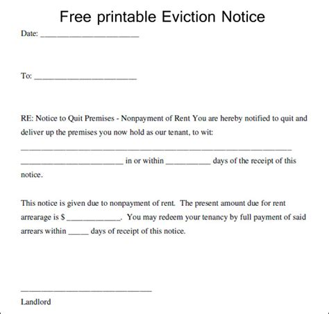write eviction letter template excel