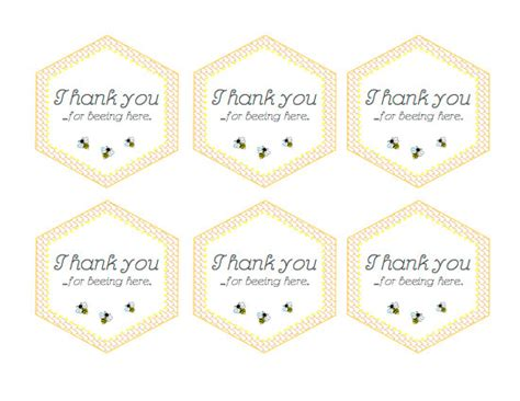 Printable Thank You Tags For Baby Shower Favors by Bee Baby Shower Printable Favor Thank You Stickers Baby Bee