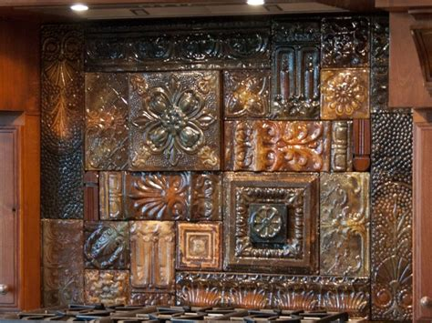 glazed reclaimed vintage tin ceiling tile back splash