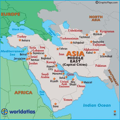 middle east city map middle east capital cities map map of middle east