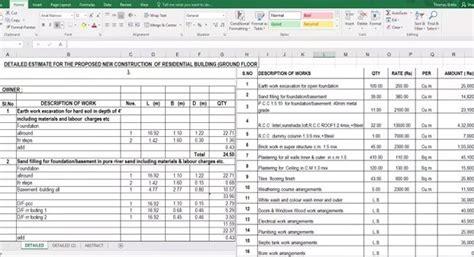 spreadsheet  estimate   construction