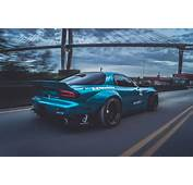 Sports Car Mazda RX 7 Blue Cars Bridge Rocket