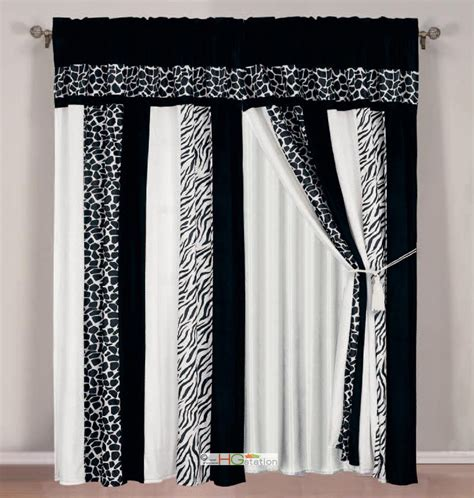 giraffe curtains 4 pc soft faux fur safari striped zebra giraffe curtain