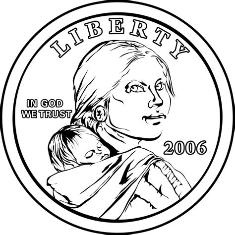 Coin Outline Clip by Dollar Coin Clipart 34