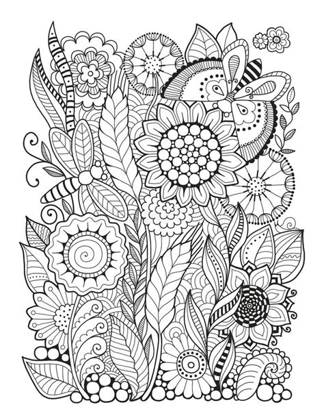 abstract summer coloring pages black and white summer flowers isolated on white abstract