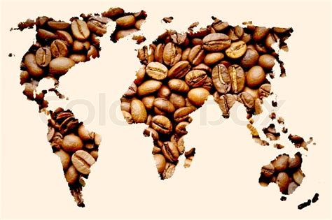 Coffee World map of the world of coffee coffee world concept stock