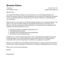 lead massage therapist cover letter examples salon spa
