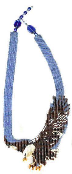 Beaded Eagle Choker seed beaded eagle necklace aguila de fuego spirit animal
