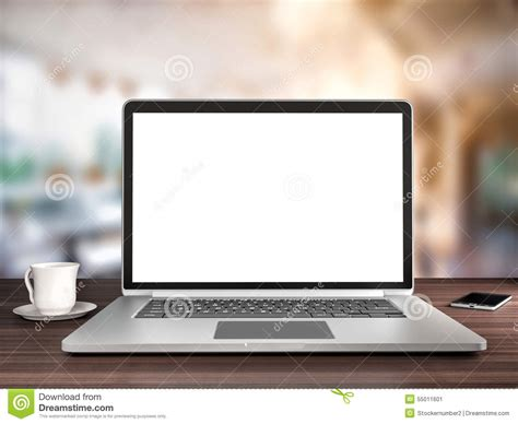 Laptop With Microsoft Office by Office Desk Laptop And Coffee Stock Illustration Image