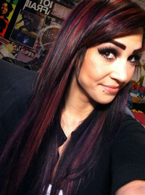 hairstyles red and black hair black red and purple bright hair color hair makeup