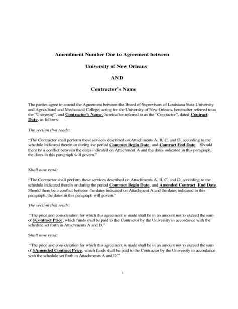 Contract Amendment Letter Sle Contract Amendment Template Free