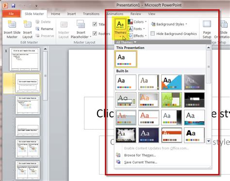 themes for powerpoint 2010 how master slides work in a ms powerpoint 2010