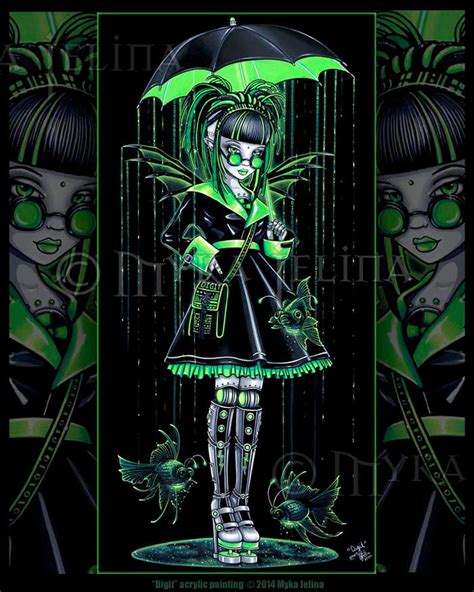 painting android green sci fi cybergoth fish android digit