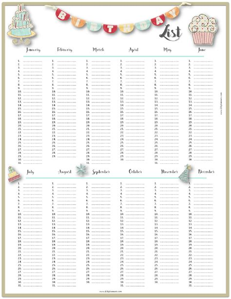 birthday list template free birthday list template customize then print