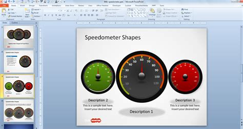 Free Dashboard Speedometer Shapes For Powerpoint Free Powerpoint Templates Slidehunter Com Powerpoint Speedometer Template