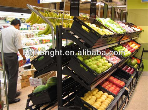 Fruits Display Rack by Supermarket Fruit And Vegetables Wooden Display Stand