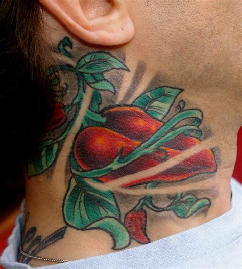 vine tattoo neck red heart and vine neck tattoos tattooshunt com