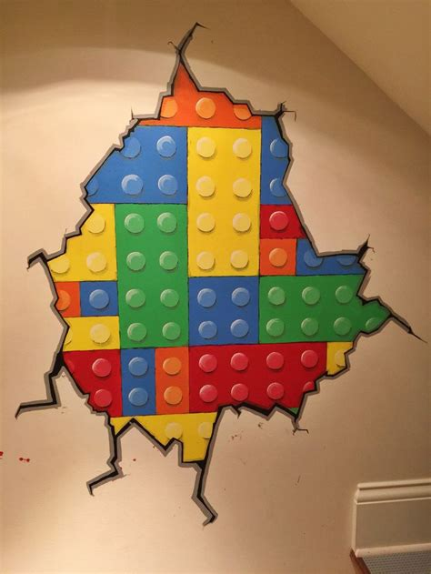 hand painted mural lego brick wall  art