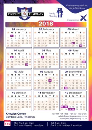 South Africa Calend 2018 Modern Upmarket Calendar Design Calendar Brief For