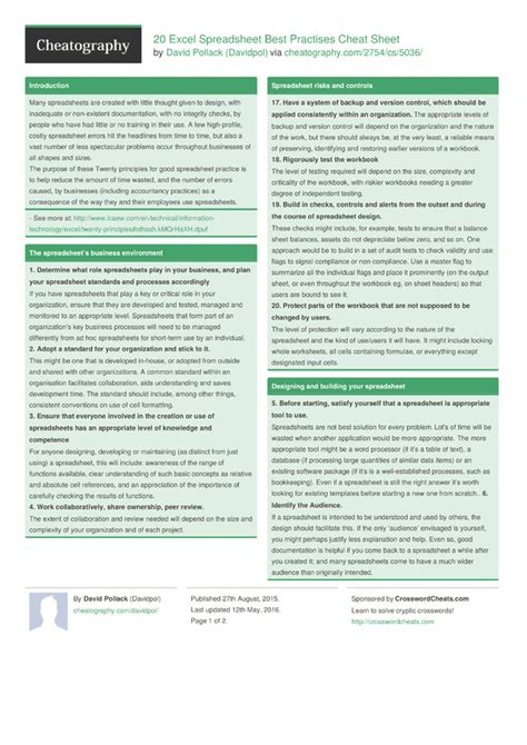 20 excel spreadsheet best practises cheat sheet by
