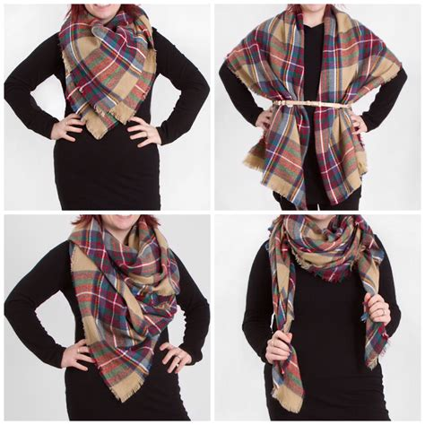 4 ways to wear a blanket scarf look by m tartan plaid scarf