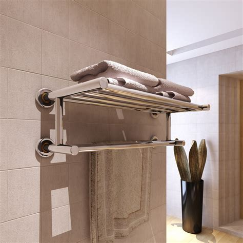 Bath Towel Shelf Rack by Stainless Steel Wall Mounted Bathroom Chrome Shelf Storage