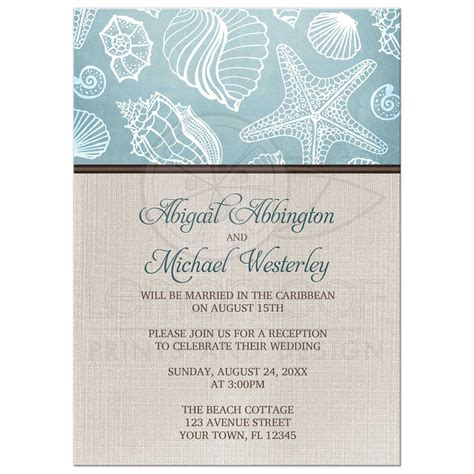 invitation wedding reception only reception only invitations rustic seashells linen