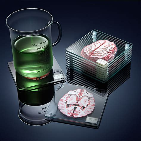 unique drink coasters stackable brain specimen coasters for the scientist in you