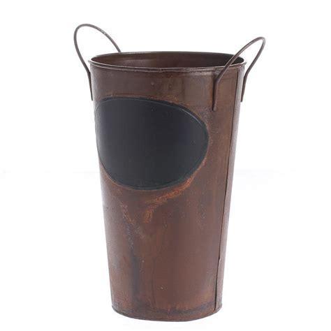 Rustic Metal Bucket with Chalkboard Label   Rusty Tin
