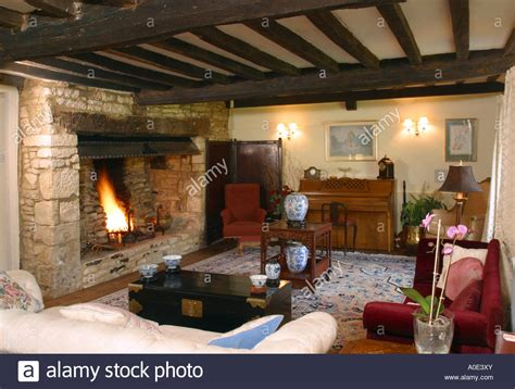 Sitting Rooms With Fireplaces by Sitting Room Oak Beamed With Large Fireplace Stock
