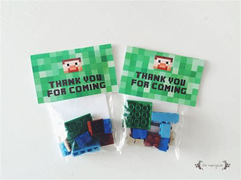spielzeugsack lego minecraft steve lego birthday favor five marigolds
