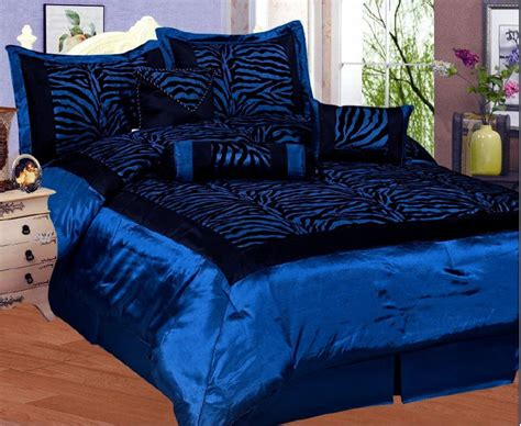 blue satin comforter new zebra faux silk flock satin comforter set navy blue ebay