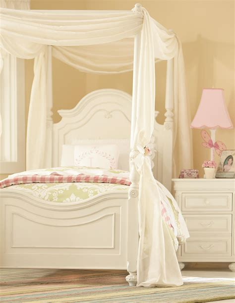 Modern white stained wooden canopy swing day bed with brown sling and cream mattress also