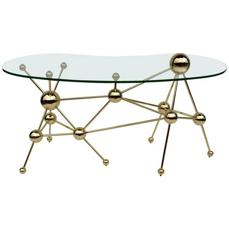 Glass Top Metal Desk by Modern Desk With Glass Top And Gilt Metal At 1stdibs