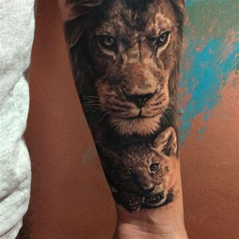 lion and cub tattoo and cub by ash higham ink tattoos