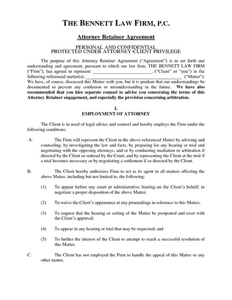retainer agreement template attorney retainer agreement template business template