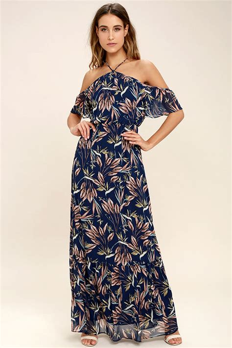 Flowerly Maxy dreamy navy blue floral print dress the shoulder maxi dress 98 00