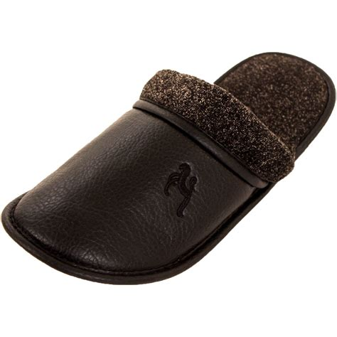 mens house slippers mens slippers slip on house shoes faux leather fleece scuff slide indoor outdoor ebay