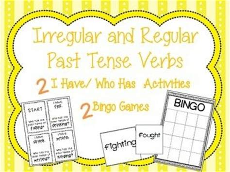 irregular past tense verb cards organized by pattern of change bingo game and past tense on pinterest
