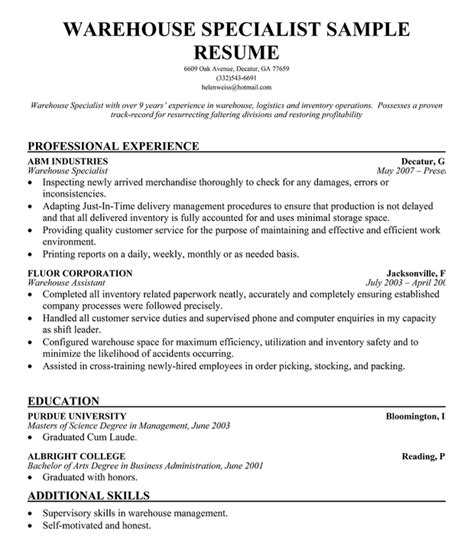 Resume Summary Exles For Warehouse Worker Resume Format Resume Format For Warehouse