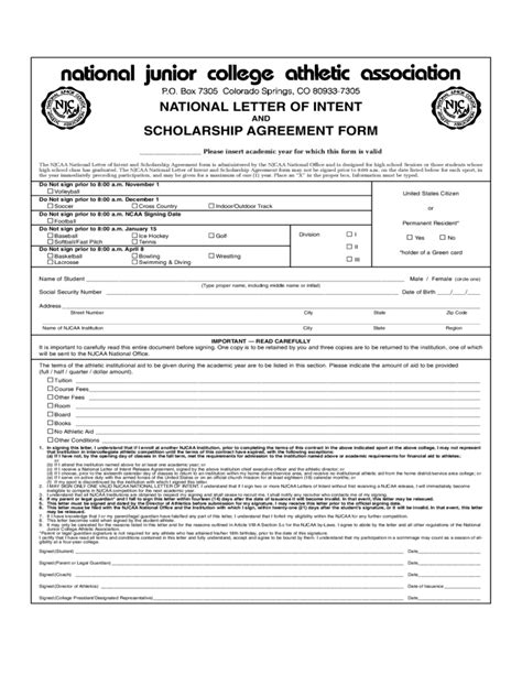 Scholarship Letter Of Intent National Letter Of Intent And Scholarship Agreement Form Free
