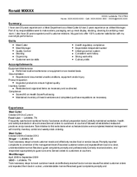 poultry cutter resume